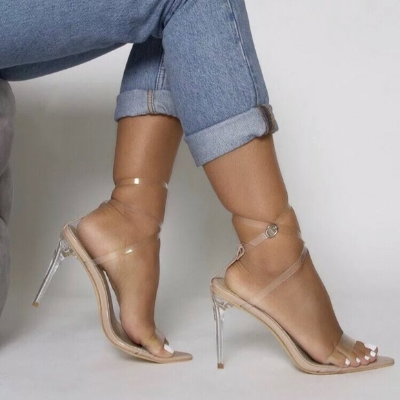 Pumps NUDE PATENT CLEAR STILETTOS STRAPPY SANDALS PEEP TOES